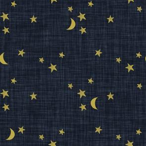 stars and moons // golden on midnight blue linen