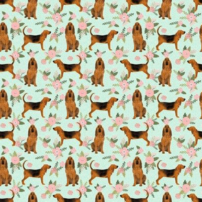 TINY - bloodhound  pet quilt d dog breed nursery fabric coordinate floral