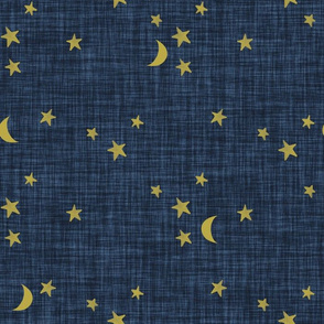 stars and moons // golden on navy no. 2 linen