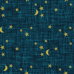 stars and moons // golden on teal linen