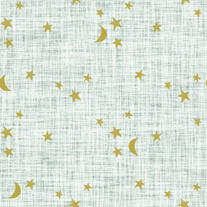 stars and moons // golden on pistachio linen