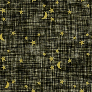 stars and moons // golden on olive green linen