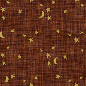 stars and moons // golden on penny linen