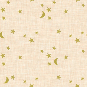 stars and moons // golden on blushy linen