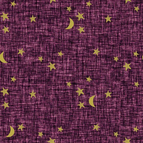 stars and moons // golden on amethyst linen