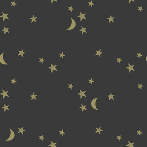 stars and moons // soft gold on off black