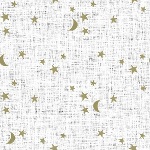 stars and moons // soft gold on white linen