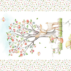 "54""x36"" Blanket Panel – Woodland Nursery Baby Girl Bedding, Deer Fox Bunny Flowering Tree, Minky size"