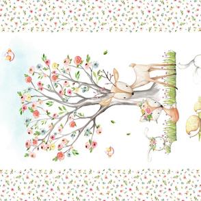 "54""x36"" Blanket Panel – Woodland Nursery Baby Girl Bedding, Deer Fox Bunny Flowering Tree, Minky size"