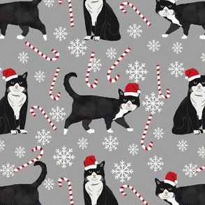 tuxedo cat christmas fabric - black and white cat, bw cat, christmas cat, holiday cat, xmas cat - grey