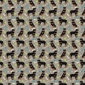 TINY - rottweiler dog fabric - dogs and toys - brown