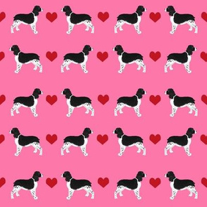 english springer spaniel love fabric - ess heart, springer spaniel love, heart, dog, dogs, - pink