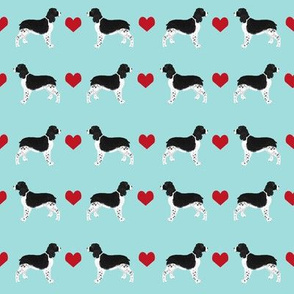 english springer spaniel love fabric - ess heart, springer spaniel love, heart, dog, dogs, - blue