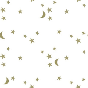 stars and moons // soft gold