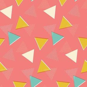 Retro Mod Triangles on Pink