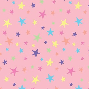 Rainbow Stars on Pink - Medium Scale