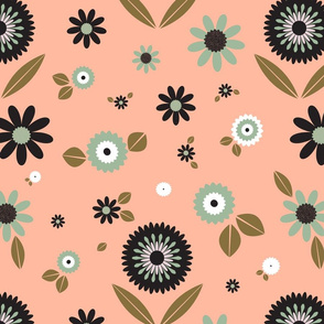 Geometric Floral-Coral