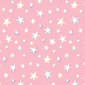Rainbow Stars on Pink - White Shadow - Medium Scale