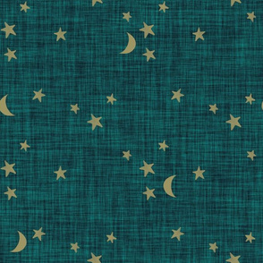 stars and moons // soft gold on spruce linen