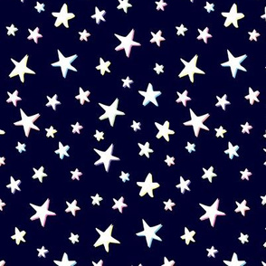 Rainbow Stars on Navy Blue - White Shadow - Medium Scale