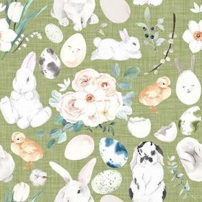 Bunny Trail // Mossy Green Linen