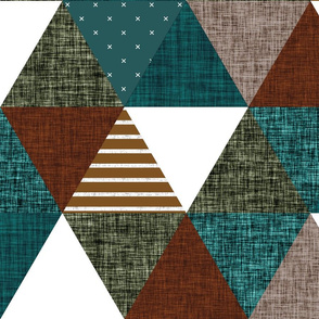 spruce + copper + olive + mocha triangle wholecloth