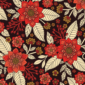 Red, Cream & Brown Floral Pattern