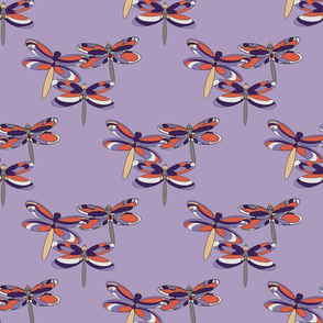 Cluster of Orange dragonflies on Lavender