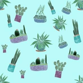 Cactus pattern blue