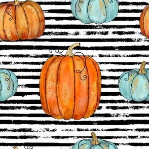 Pumpkin Assortment on a stripe background