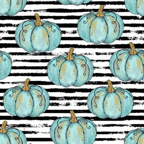 Blue Painted Pumpkins on Distressed Stripe - small scale