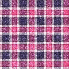 Pink / Blue Plaid glittery