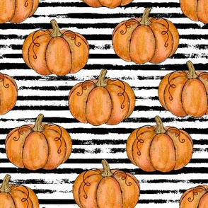 Orange Painted Pumpkins on Distressed Stripe - small scale