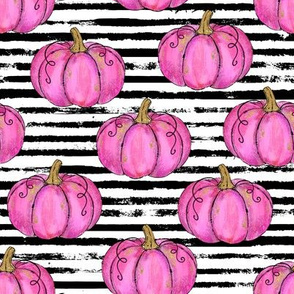 Pink Painted Pumpkins on Distressed Stripe - small scale