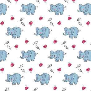 Elephant pattern with bird and leaf