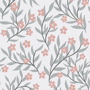 Pale grey and dusky pink floral