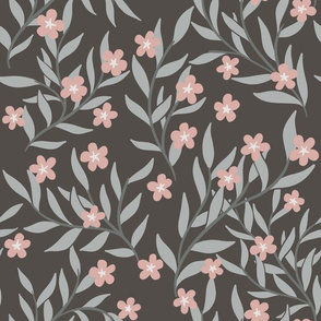 Neutral grey, brown and pink floral
