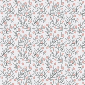 Pale grey and dusky pink floral (smaller scale)