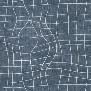 topography grid distressed denim blue canvas look