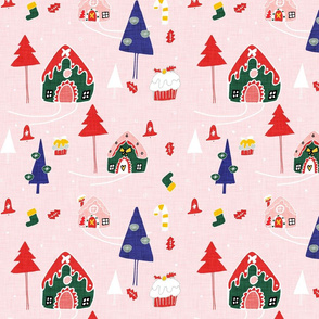 Gingerbeard Houses  Pink