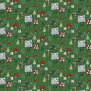 Christmas Owl Green
