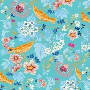 Garden floral - aqua