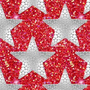 Metallic star silver red glitter