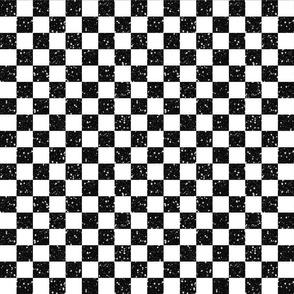 Black White Glitter Check