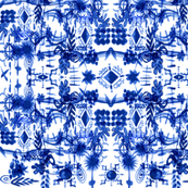 Modern French blue and white toile botanical flowers nature