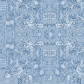 Modern French botanical toile light blue grey