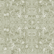 Modern French botanical toile light tan khaki
