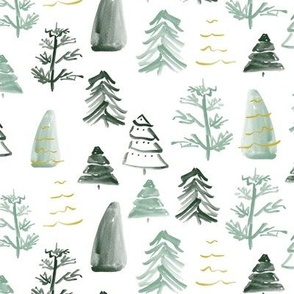Christmas Trees on White