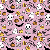 Little halloween candy skulls spider friends and bats kids pumpkin season girls pink