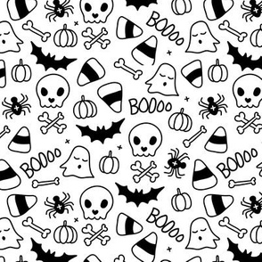 Little halloween candy skulls spider friends and bats kids pumpkin season monochrome black and white
